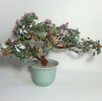 "Jade Bonsai Tree Chinese Glass Agate Asian Flowers Celadon Pot Huge 19"" W X 15""T"