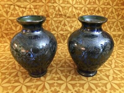 Pair Small Asian Antique Art Hand Silver Painted Blown Cobalt Blue Glass Vases