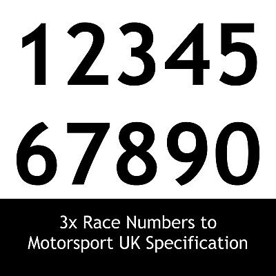 Motorsport UK Race Number Stickers x3 - MSA scrutineer race rally car decal