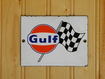 """GULF OLD PORCELAIN SIGN ~4-3/4'' x 3-1/2"""" CHECKERED FLAG OIL RACING GAS STATION"""