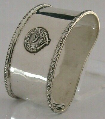 Unusual Sterlin Silver South African National Rifle Association Napkin Ring 1939