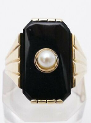 ART DECO Goldring ONYX Perle Damenring GOLD Ring 585 14 K HANDARBEIT 10,4g RG 61