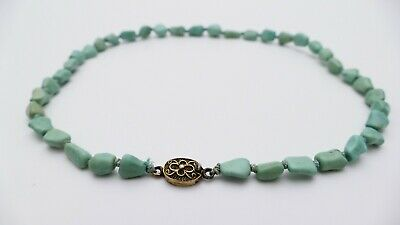 antique CHINESE turquoise nugget beads necklace Silver closure 24g Türkis Kette