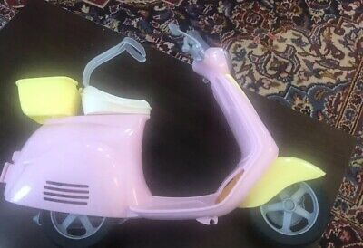 Barbie Or Similar Doll Pink & Yellow Scooter Moped with Puppy Holder Vespa