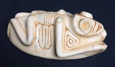 Rare Pre Columbian Taino Zemi Shaman Stone Frog With Atabey Body Stamp On Bottom