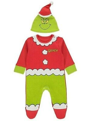 Dr Seuss The Grinch Christmas All In One and Hat Outfit 100% COTTON Size 0-18mth