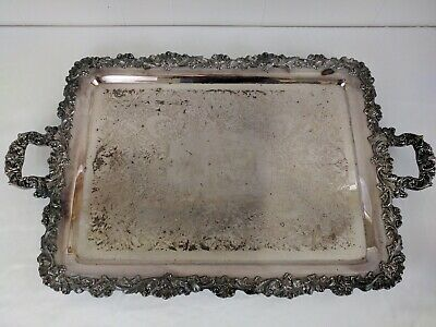 "Ornate Large 27"" Antique Wilcox Silver Footed Silver Plate Butler Serving Tray"