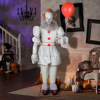 6 ft Animated Pennywise Halloween Decoration Life Size Multicolor IT Clown Prop