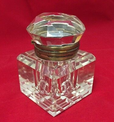 Beautiful French ? Antique Cut Crystal Clear Glass Inkwell Hinged Lid Bronze