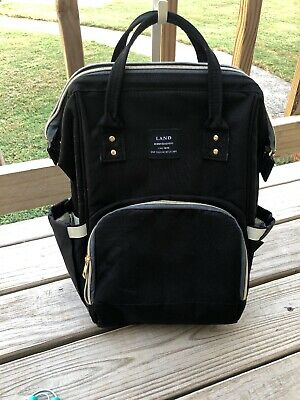 LAND Mommy Backpack Diaper Bags Black Baby Nappy Bag Waterproof Large