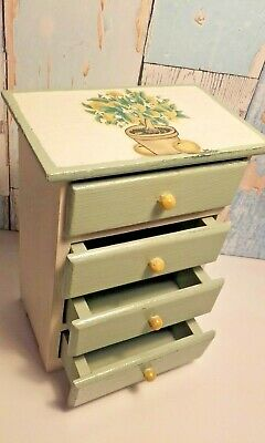 Refurbished Lemon Tree Miniature Wooden Cabinet Drawers Teddy Jewellery Crafts