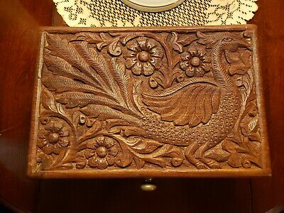 "Beautiful Oriental Hand Carved Solid Wood Jewelry box 12"" x 8"""