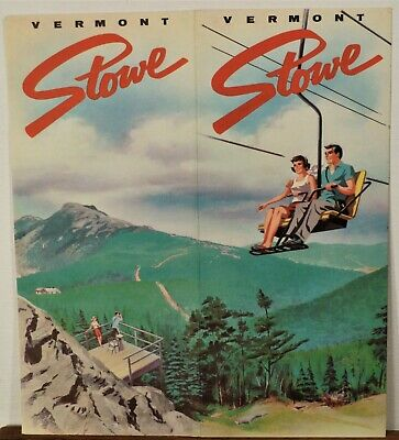 1950's Stowe Vermont vintage illustrated travel brochure chairlift cover b