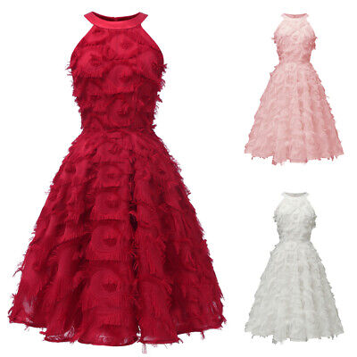Fashion Women Feather Tassel Evening Party Gown Dress Bridesmaid Formal Dresses