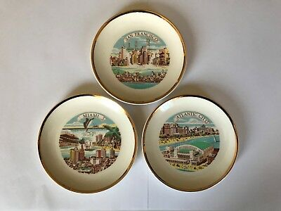 San Francisco & Miami & Atlantic City Souvenir plates and collectibles  Lot of 3