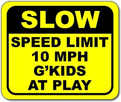 Slow autistic child area metal outdoor sign bright yellow long-lasting