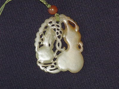Rare Hollow carved genuine authentic Ancient Jade Double Fortune Pendant