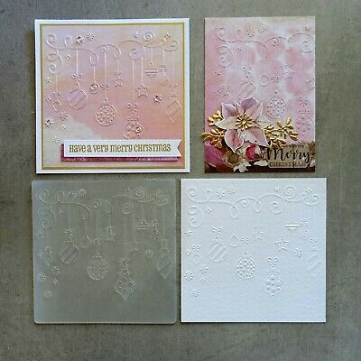 central craft EMBOSSING FOLDER SQ CHRISTMAS BAUBLES DECORATIONS CCC-4078