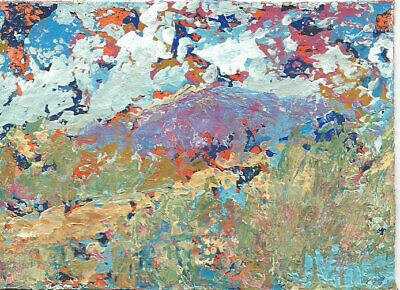 SALE Original Abstract Acrylic Knife Mountain Pass Landscape Painting ACEO ART