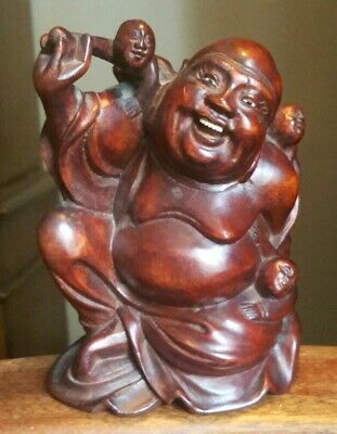 Old China temple Boxwood Wood carved  Happy laughing Maitreya Buddha statue