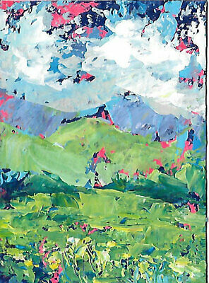 SALE Flowers Mountains Original Abstract Landscape Knife Painting ACEO ART