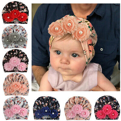 Soft Newborn Baby Girls Print Pearl Knotted Flower Cap Infant Elastic Beanie Hat