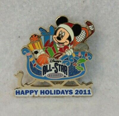 Disney WDW LE 750 Pin Happy Holidays 2011 Sleigh All Star Resort Mickey Mouse