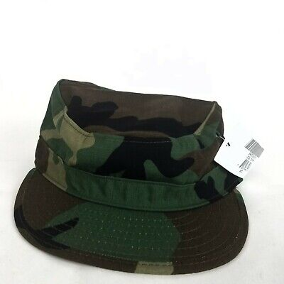 New US Military Issue Army Woodland Camouflage BDU Patrol Cap Hat Size 7 1/4