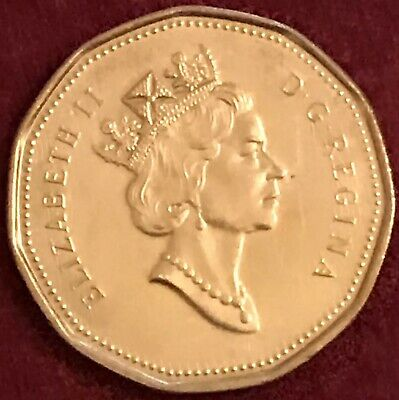Canadian one-dollar $1 Canada gold-coloured Duck loonie Coin Queen Elizabeth II