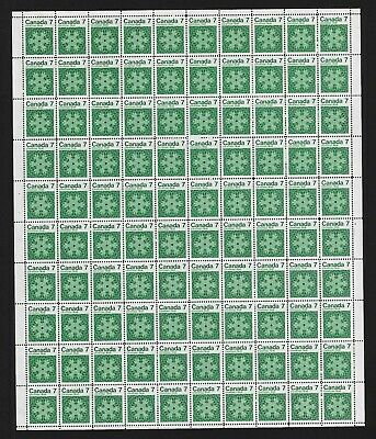 Canada Stamps — Full Pane of 100 — 1971, Christmas: Snowflakes #555 — MNH