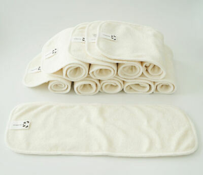 x1 or x10 Bamboo Modern Cloth Nappy Inserts 4 Layers Reusable Washable Baby Bulk
