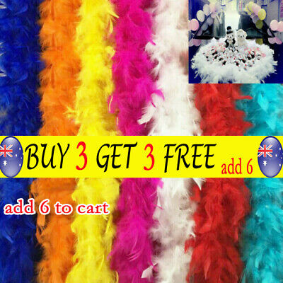 2M Feather Boa Strip Fluffy Craft Costume Dressup Wedding Party Flower Decors TH