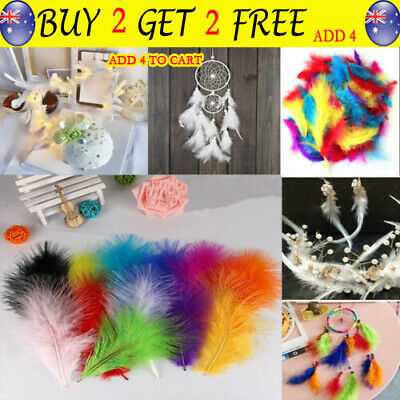 200pcs Large Fluffy Marabou Feathers 4-12cm Card Making Crafts Embellishments TH