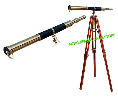 Nautical Vintage Design Telescope With Tripod Stand Watching Brass Spyglass Item