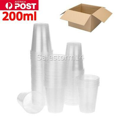 Disposable Plastic Cups Clear Reusable Drinking Water Cup Party 200ml Bulk I