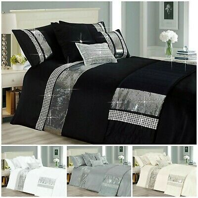 Silver Grey Sequin Sparkle Duvet Cover / Quilt Cover Bedding Set & Pillowcases