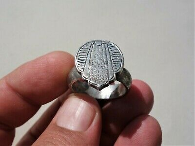 ancient late Roman / Byzantine solid silver carved ring