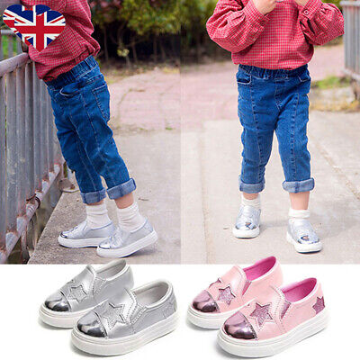 Kids Girls Star Shoes Casual Flat Low Top Plimsolls Pumps Trainers Sneakers Size