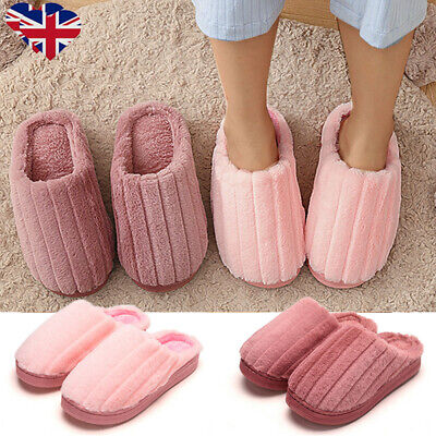 Womens Home Non Slip Sole Soft Plush Slippers Winter Warm Sliders Shoes Size 3-7