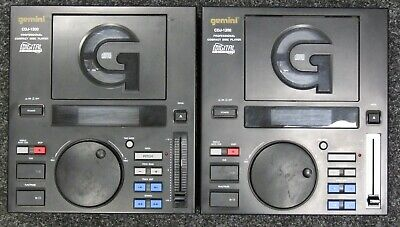 Pair of Gemini CDJ-1200 Professional CD DJ Mixer Turntable Players - Black