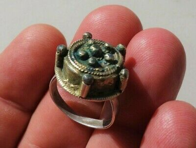 ancient Byzantine / Middle Ages silver - gilt ring, nicely filigree decorated