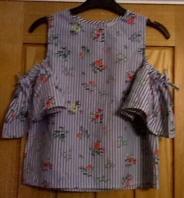 Girls Cold Shoulder Top White/Blue striped with flower pattern 8 Years Matalan