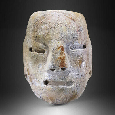 Teotihuacan Alabaster Stone Mask, H. 10,0 Cm, Circa 450-650 Ad