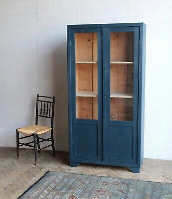 Vintage Antique Indigo Painted Deco Glass Larder Cupboard Cabinet