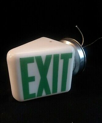 Old Art Deco White Milk Glass EXIT Sign wedge V shade with original holder