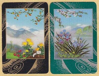 2 Single VINTAGE Swap/Playing Cards MOUNTAINS & IRIS FLOWERS Gold/Silver