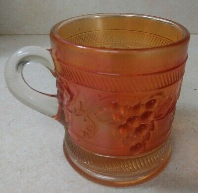 Vintage DUGAN Marigold Banded Grape Carnival Glass  Mug Cup For Punch Bowl