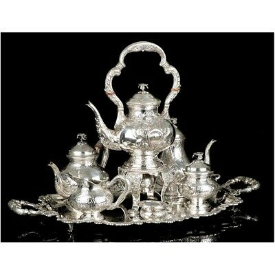 Antique Solid Sterling Silver Tea Set. 7,8 kg. Spain, Early 20th C.