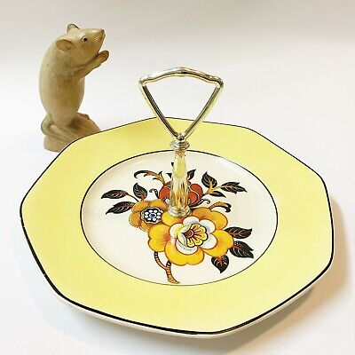 Solian Ware Chrome Handled Serving Cake Plate  23cm English, Broad  Yellow Band