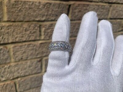 Iced Out Silver Plated Lab Diamond Round Cut Pinky Ring Size 7